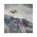 Flykt över gråa berg, 40x40 cm, SEK 1000