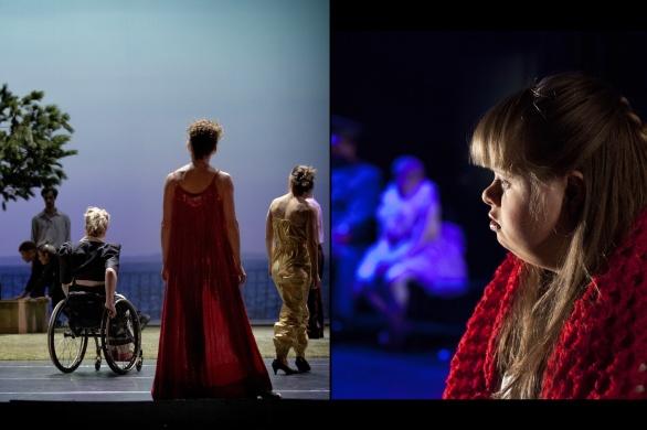 (Vänster) To find a way, Skånes Dansteater, fotograf: Malin Arnesson (Höger) Ett Drömspel, Moomsteatern, fotograf: Bodil Johansson