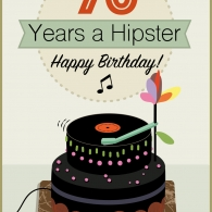 70 years a Hipster. Vector.