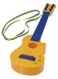 Blågul gitarr till musikstudent