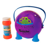 Bubbelmaskin i rosa och handtag som är batteridriven