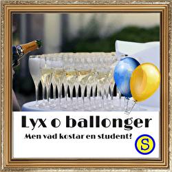 Lyx och ballonger men vad kostar en student.