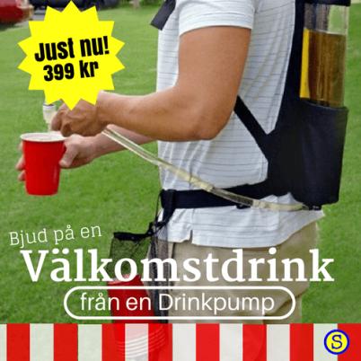 Bjud på en välkomsdrink från en drinkpump på ryggen