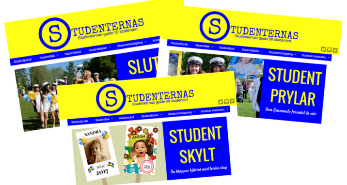 Annonsering Studenternas med flera webbsidor som visas ovanpå varandra