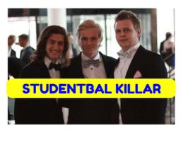 Tjejer och killar i balkläder på sin Studentbal