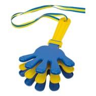 Handklappa i gult och blått. Smattra och klappa för att för oväsen.