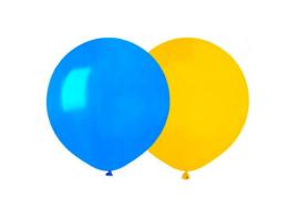 Stora ballonger i gult och blått