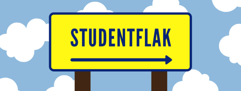 Skylt som visar körväg studentflak