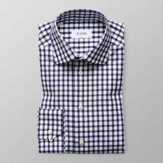 Eton - Marinblå ginghamrutig skjorta - 38