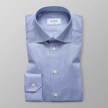 Eton - Blå & vitrandig twillskjorta