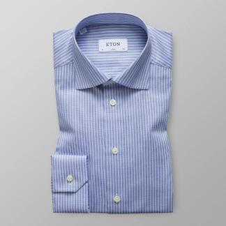 Eton - Blå & vitrandig twillskjorta - 38