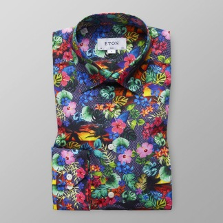 Eton - Hawaiimönstrad skjorta - 43