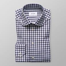 Eton - Marinblå ginghamrutig skjorta