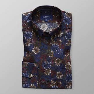 Blå & rödblommig skjorta - Eton - 40