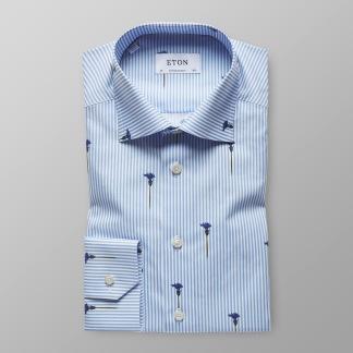 Eton - Blårandig skjorta med blommor - 38