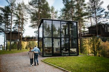 Uppe på en kulle, omgiven av Umeälven, ligger Glashuset och de sex Fågelnästena, hotellrum i trädens toppar.