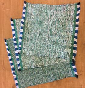 Disktrasa, handvävd - Handvävd disktrasa grön