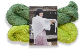 Stickset stor sjal - Stickset stor sjal lime/bladgrön