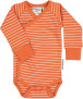 Body med omlottknäppning - Body omlott orange-beige 74/80