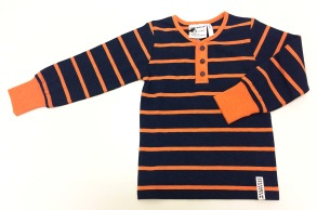 Tröja långärmad med ränder - Tröja långärmad marin orange 98/104