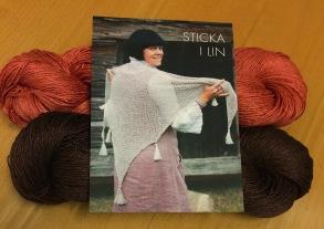 Stickset stor sjal - Stickset stor sjal brun/tegel