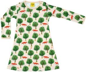 Klänning med träd och rävar