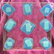 Glasfat i blått och transparent