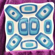 Glasfat i blått och vitt