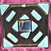 Glasfat i svart och blått