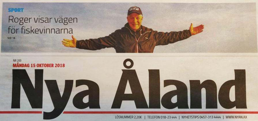 De tre senaste åren har Roger Nordlund guidat vinnaren i Gäddfighten finalen. Bilden är ifrån tidningen Nya Ålands framsida.