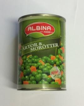 Ärtor & morötter, Albina Food, 400g -
