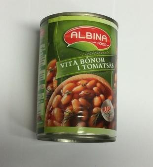 Vita bönor i tomatsås, Albina Food, 400g -