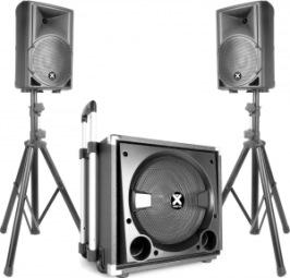 """900W proffsljud: 15"""" sub, 2 toppar, 2 stativ, mikrofon, 3 kablar, mixer, blåtand, mediaspelare USB SD, 21-funktions trådlös fjärrkontroll, 2 equalizers. Sub bas med teleskophandtag och hjul! 41kg. Portabel för fest, show, uppträdande, DJ. Hyrpris: 1200kr inkl moms"""