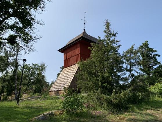 Klockstapeln uppe på Klockbacken. (Återskapad). Klockstapeln från 1608 brann ner 2016.
