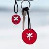Nyckelringar & Hängen - Nyckelring & hänge RÖD transparent plexi svart snöre