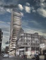 Planer för ett 23 våningshus på gå gatan