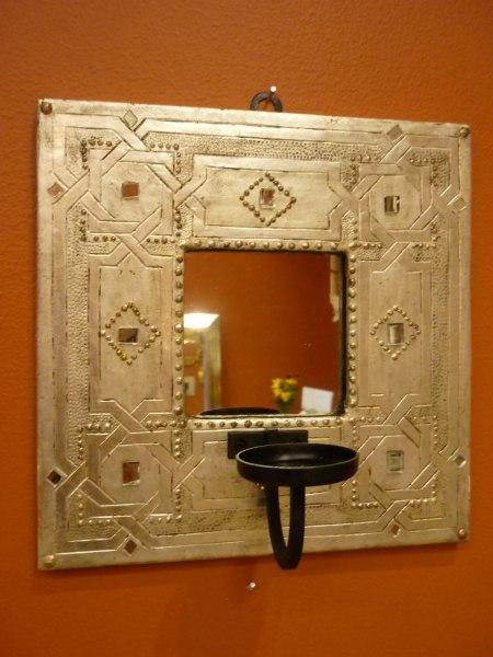 Spegel i silver med glasdekor.