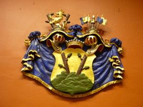 Heraldisk vapensköld med hjälmar, hjälmtäcke och hjälmprydnad