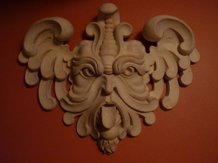 Wood carving - wood carved mascaron in our own design based on italian renaissance style