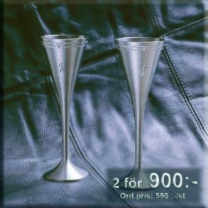 Två snapsglas i tenn - 2 snapsglas