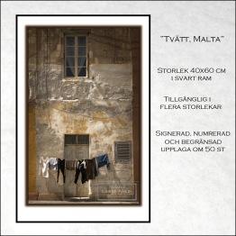 Tvätt, Malta - 40x60 cm svart ram