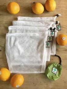 Emmbag 4-pack miljövänliga nätpåsar/fruktpåsar inkl fodral