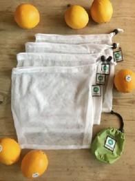 Emmbag 4-pack miljövänliga nätpåsar/fruktpåsar inkl fodral  (set of 4 mesh bags)