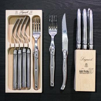 Bestick Laguiole Andre Verdier rostfritt stål - 6 st knivar rostfritt Laguiole Andre Verdier
