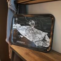 Bricka med kartmotiv över Södermalm