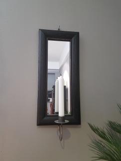 Väggljusstake med spegel -