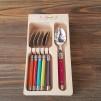 Bestick Laguiole Andre Verdier mixade färger på skaften - 6 st små skedar med mixade färg på skaften