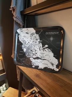 Bricka med kartmotiv över Östermalm - Bricka Östermalm