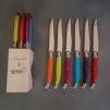 Knivar Laguiole Andre Verdier mixade färger på skaften - 6 st knivar Laguiole Andre Verdier i färgglad kombination på skaften