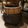 Handgjord bambukorg - Korg svart stor